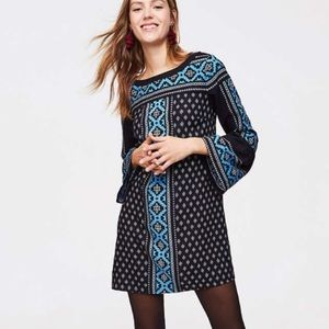 LOFT Mosaic Bell Sleeve Dress